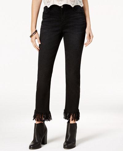 Black Daisy Juniors' Frayed-Hem Straight-Leg Jeans