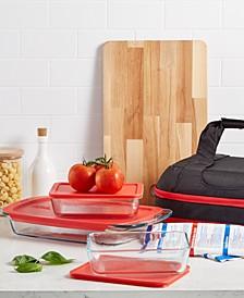 Portable Easy Grab Double Decker 9 Piece Food Storage Container Set