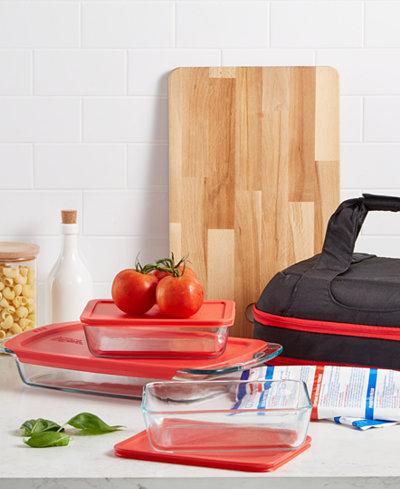 Pyrex Portable Easy Grab Double Decker 9 Piece Food