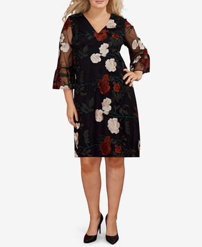 ECI Plus Size Flounce-Sleeve Embroidered Dress - Dresses - Plus ...