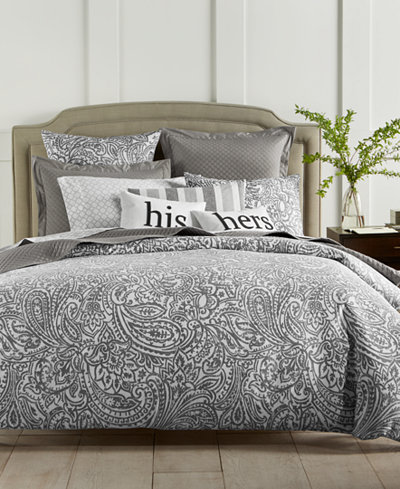 Charter Club Damask Designs Stone Paisley 300-Thread Count 3-Pc. Duvet Cover Sets, Created For Macy's