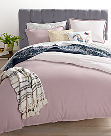 Whim by Martha Stewart Collection Cotton Linen Mauve Bedding Collection, Created for Macy's