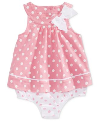 Image of First Impressions Baby Girls Dot-Print Cotton Skirted Romper, Created for Macy's