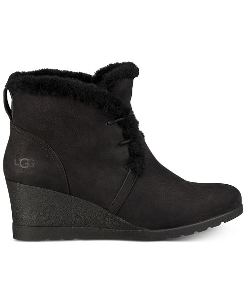 960ae44b1f42 UGG® Women s Jeovana Wedge Lace-Up Booties   Reviews - Boots - Shoes ...