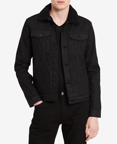 Calvin Klein Jeans Men's Faux Sherpa Collar Denim Jacket - Coats ...