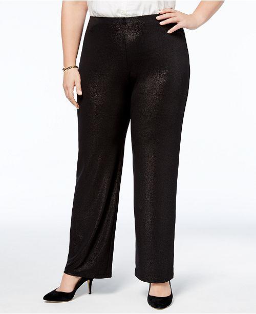 Alfani Plus Size Metallic Pull-On Pants, Created for Macy's