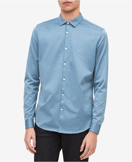 Calvin Klein Men's Yarn-Dyed Dashed-Stripe Jacquard Shirt