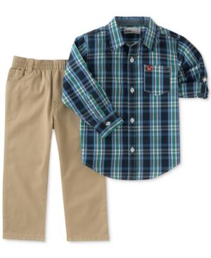 Kids Headquarters 2Pc Plaid Shirt  Pants Set Toddler Boys (2T5T)