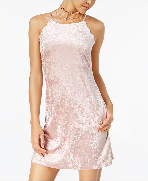 BCX Juniors' Scalloped Velvet Dress