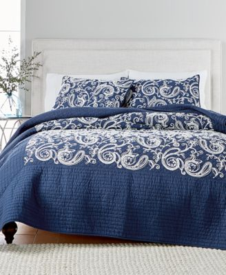 CLOSEOUT! Paisley Vine Cotton Crewelwork Twin Quilt, Created for Macy's