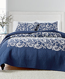 CLOSEOUT! Martha Stewart Collection Paisley Vine Cotton Crewelwork Full/Queen Quilt, Created for Macy's