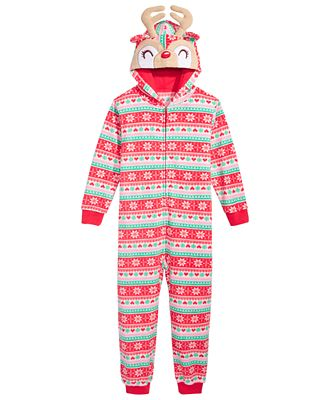 Max & Olivia Hooded Fair Isle Reindeer Jumpsuit, Little Girls (4 ...