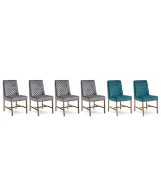 Cambridge Dining Chair 6-Pc. Set (4 Gray Side Chairs & 2 Teal Side Chairs)
