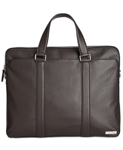 Calvin Klein Men's Leather Attache Messenger Bag