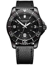 Men's Swiss Maverick Black Leather Strap Watch 43mm