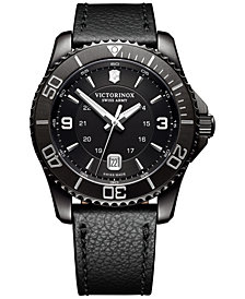 Victorinox Swiss Army Men's Swiss Maverick Black Leather Strap Watch 43mm