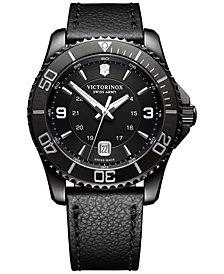 Victorinox Swiss Army Men's Swiss Maverick Black Leather Strap Watch 43mm