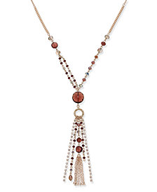 I.N.C. Rose Gold-Tone Beaded Tassel Pendant Necklace, Created for Macy's