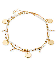 I.N.C. Gold-Tone Disk & White Bead Double-Row Ankle Bracelet, Created for Macy's