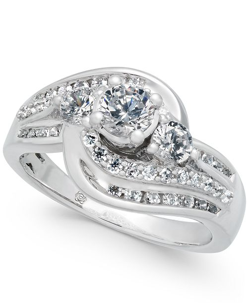 Macy's Diamond Swirl Engagement Ring (3/4 ct. t.w.) in 14k White Gold