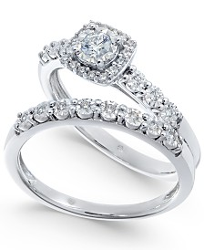 Diamond Halo Bridal Set (1/4 ct. t.w.) in 14k White Gold