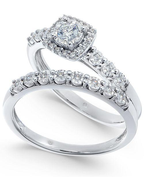 Macy's Diamond Halo Bridal Set (1/4 ct. t.w.) in 14k White Gold