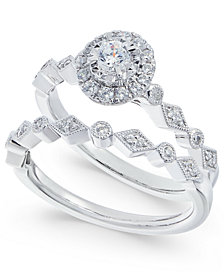 Diamond Halo Bridal Set (3/8 ct. t.w.) in 14k White Gold