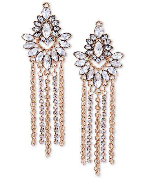 GUESS Gold-Tone Crystal & Chain Fringe Chandelier Earrings