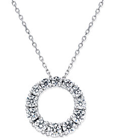 Diamond Circle Pendant Necklace (1 ct. t.w.) in 14k White Gold