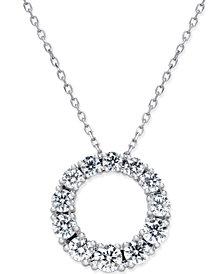 Diamond Circle Pendant Necklace (1 ct. t.w.) in 14k White Gold