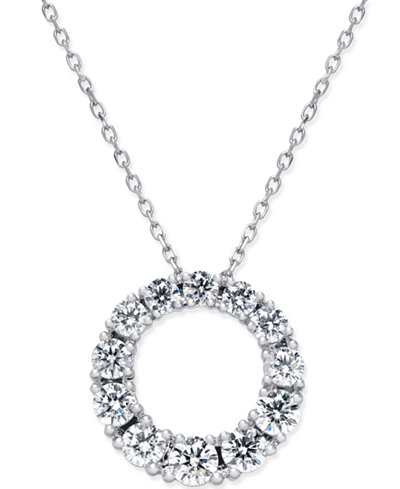 Diamond circle pendant necklace 1 ct tw in 14k white gold diamond circle pendant necklace 1 ct tw in 14k white gold aloadofball Images