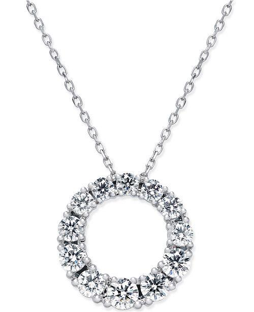 Macys diamond circle pendant necklace 1 ct tw in 14k white main image aloadofball Gallery