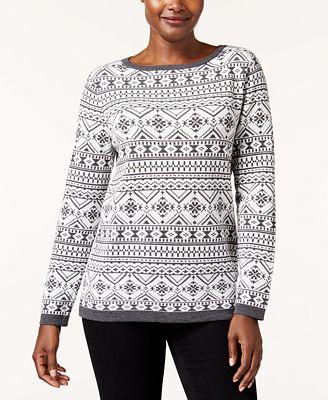 Karen Scott Cotton Fair-Isle Sweater, Created for Macy's ...