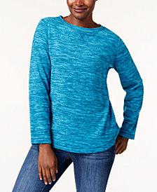 Karen Scott Microfleece Spacedye Crew-Neck Sweatshirt, Created for Macy's
