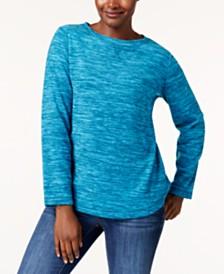 Karen Scott Space-Dye Microfleece Top, Created for Macy's