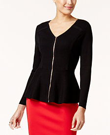 Thalia Sodi Zip-Front Peplum Sweater, Created for Macy's