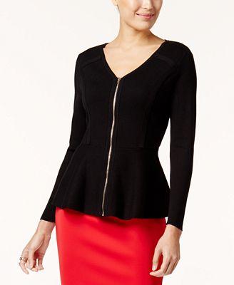 Thalia Sodi Zip-Front Peplum Sweater, Created for Macy's