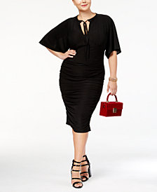 Monif C. Trendy Plus Size Flutter-Sleeve Keyhole Dress