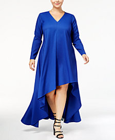 Monif C. Trendy Plus Size High-Low Crepe Dress