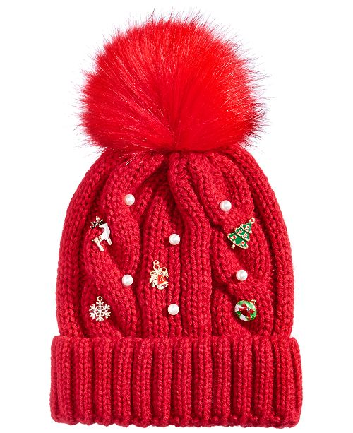c9856ea906d Collection XIIX Cable-Knit Pom Charm Beanie - Handbags   Accessories ...