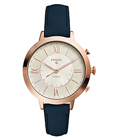 Women's Tech Jacqueline Blue Leather Strap Hybrid Smart Watch 36mm