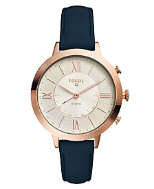 Fossil Women's Tech Jacqueline Blue Leather Strap Hybrid Smart Watch 36mm