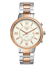 Fossil Q Women's Virginia Two-Tone Stainless Steel Bracelet Hybrid Smart Watch 36mm