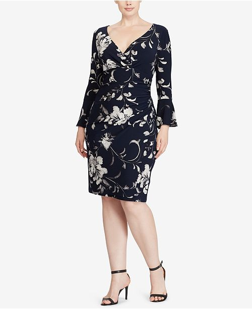 Lauren Ralph Lauren Plus Size Floral-Print Bell-Sleeve Dress ...