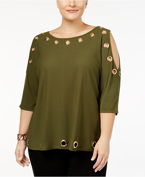 1c548521b68ac Belldini Plus Size Cold-Shoulder Grommet Top   Reviews - Tops - Plus ...