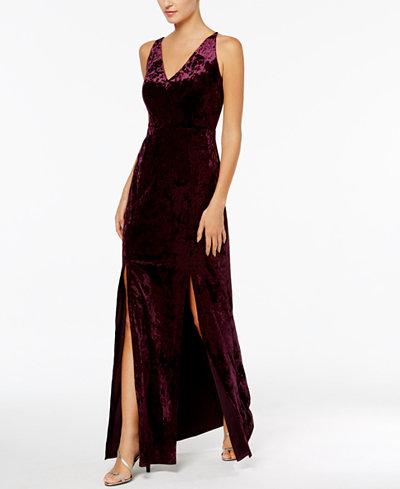 Calvin Klein Crushed Velvet Cutout-Back Gown