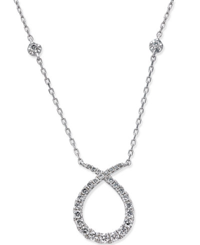 Diamond Loop Pendant Necklace (3/8 ct. t.w.) in 14k White Gold