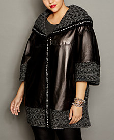 The Fur Vault Knit-Trim Leather Cape
