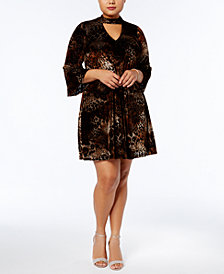 Jessica Howard Plus Size Velvet Choker Fit & Flare Dress