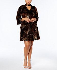 Jessica Howard Plus Size Velvet Choker Fit & Flare Dress